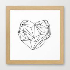 Heart Graphic (black on white) Framed Art Print