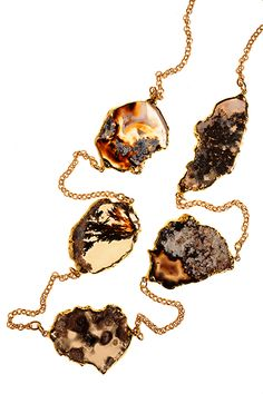 A statement piece consisting of five black banded agates from Marfa, Texas. Each agate varies in size from 1 to diameter. Chain and edging on stones is gold vermeil.One of a kind. Agates, Earrings Handmade, Marfa Texas, Cool Designs, Artisan, Pendant Necklace, Jewels, Band, Chain