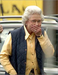 'Oh silly me... I forgot my crown at home! ...and I did not change for the state dinner!' Queen Elizabeth