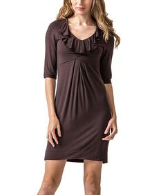 Look at this #zulilyfind! Brown Ruffle Dress by Amelia #zulilyfinds