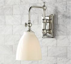 Covington Articulating Single Sconce - Pottery Barn $149 Also nice - but would need two and I think our bathroom will have one above mirror