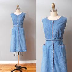 1950s Dress  Nautical Denim 50s Day Dress by OldFaithfulVintage, $55.00
