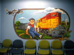 Santa Fe Southern w/ Little Engineer wall mural @Camino Entrada Pediatrics in SF, NM 5'x8' -2010 @Tamara Dick