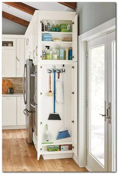 Home Remodel Kitchen Keep cleaning supplies neat and tidy and on hand at all times with our Utility Cleaning Cabinet.Home Remodel Kitchen Keep cleaning supplies neat and tidy and on hand at all times with our Utility Cleaning Cabinet. Diy Kitchen Storage, Kitchen Cabinet Organization, Home Decor Kitchen, Home Organization, Cabinet Ideas, Rustic Kitchen, Kitchen Modern, Laundry Room With Storage, Kitchen Storage Furniture