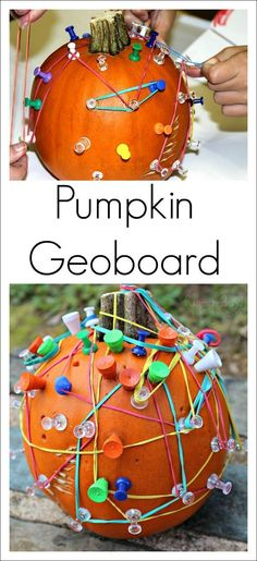 PUMPKIN GEOBOARD - What an awesome hands-on math experience for kids! This geoboard pumpkin is a simple set up for hours of learning fun with pumpkin math! A pumpkin geoboard equals an awesome fall STEM activity. Autumn Activities For Kids, Fall Preschool, Halloween Activities, Preschool Activities, Halloween Crafts, Pumpkin Preschool Crafts, Nursery Activities, Preschool Halloween, Preschool Colors
