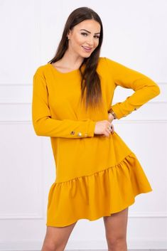 Mustard, Rompers, Calvin Klein, Summer Dresses, Dresses With Sleeves, Elegant, Lady, Long Sleeve, Cotton