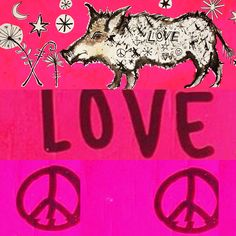 Wild Boar Love ink drawing/collage by Lizzie Reakes