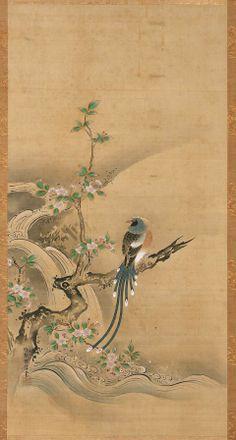 Long-tailed Bird in Chokeberry Bush-Kano Tanshin Morimasa, Japanese
