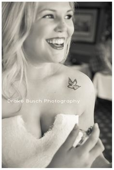 great dove tattoo on the bride   Drake Busch Photography