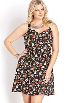 Garden Fete Cutout Dress | FOREVER21 PLUS - 2000070256.. Cute with some western boots!! Val