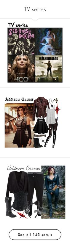 """""""TV series"""" by m-spirations ❤ liked on Polyvore featuring art, Chicnova Fashion, ABS by Allen Schwartz, SELECTED, Project Social T, AllSaints, Versace, McQ by Alexander McQueen, Samsøe & Samsøe and Old Navy"""