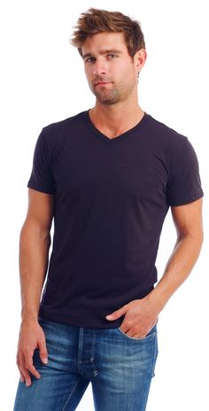Once you try on our Men's V-Neck t-shirt and feel its 60% combed cotton composition, you will never want to wear anything else. We are so sure you will love the feel and fit of our basic V-Neck T-Shir