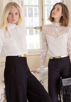 Shop this black & white look perfect for day or night ! #annefontaine #blackwhite #fashion