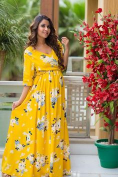 24a2b738f37b0 Hello Yellow Floral Maternity & Nursing Wrap Dress #momzjoy  #ownyourconfidence #maternityfashion #