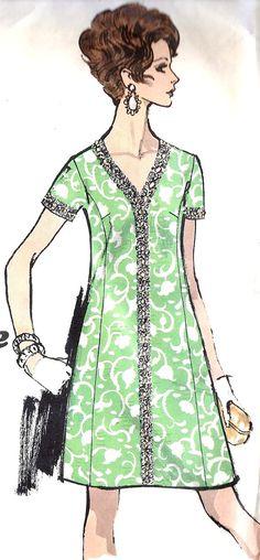 1960s Womens Plus Size Dress Vintage Sewing by MissBettysAttic, $12.00