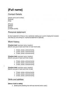 Work focused CV template
