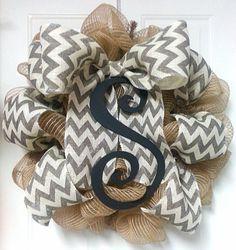 Monogram Wreath Wooden Initial Burlap Wreath by Azeleapetals, Azelea Petal