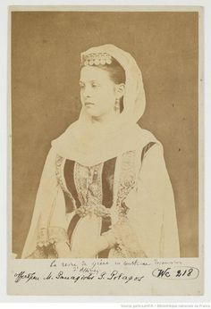 Queen Olga of Greece in traditional dress.