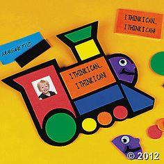 Magnetic foam train craft. Turn orange square to blank side and write child's name. $3.59 a dozen OTC