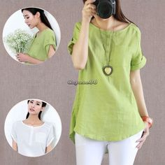 New Women Fashion Summer Cotton Linen Short Sleeve T Shirt Tops Blouse CaF8