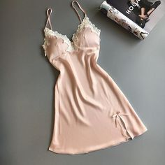 Women Nighties Night Suit Dress Summer Sexy Nightgowns Sleepwear Satin Nightgown Female Home Dress Elegant Nightwear Chest Pads Night Suit, Night Gown, Sleepwear Women, Pajamas Women, Night Dress For Women, Lingerie Collection, Elegant Dresses, Nightwear, Lingerie Sleepwear