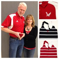 Dave & Jaque Early during our Campus Celebrity Couples week.  NEW Striped Eastern Eagle Twisted Back Tank.