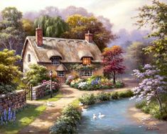 Global Gallery 'Duck Path Cottage' by Sung Kim Painting Print on Wrapped Canvas Size: Cottage Canvas Art, Cottage Art, Painted Cottage, House Painting, Diy Painting, Painting Prints, Art Print, Thomas Kinkade, Belle Image Nature