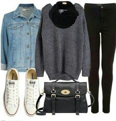 Fall Outfit- i'd wear this minus the jean jacket