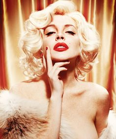 Lindsey Lohan trying to pull off Marilyn Monroe (great lighting and beautiful makeup help her look put together) Great Idea for anyone trying to re-create a sultry vintage look.
