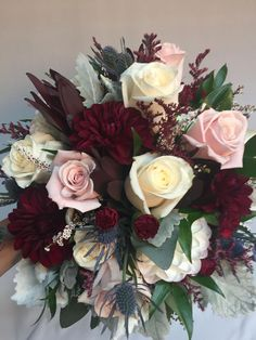 burgundy color really makes this bouquet pop! aveofsedona… The burgundy color really makes this bouquet pop! aveofsedonaThe burgundy color really makes this bouquet pop! Flower Bouquet Wedding, Floral Wedding, Our Wedding, Dream Wedding, Wedding Ideas, Wedding Wishes, Winter Wedding Colors, Blue Weddings, Winter Weddings