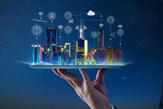 Waiter hand holding an empty digital tablet with Smart city with smart services and icons, internet of things, networks and augmented reality concept , night scene . Whatsapp Tricks, Innovation, Digital Tablet, Smart City, Big Data, Data Data, Augmented Reality, Mobile App, Hold On