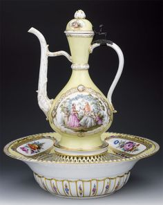 Meissen porcelain. I can't decide exactly what it is. Ewer and Bowl? Coffee Pot and Bowl- whatever it is it's lovely!