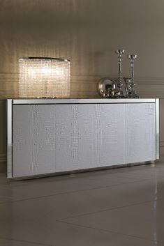 Luxurious White Alligator Embossed Leather Italian Sideboard at Juliettes Interiors, discover the finest range of high end Italian furniture. Mirrored Furniture, Luxury Furniture, Hallway Colours, Italian Furniture, Entrance Hall, Furniture Collection, Sideboard, Home Remodeling, Cabinets