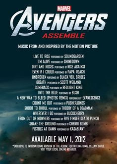"""Avengers Assemble"" Soundtrack Tracklisting. It also features Bush, Evanescence, Rise Against and more."