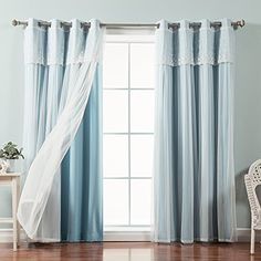Best Home Fashion Mix  Match Tulle Sheer with Attached Valance  Solid Blackout 4 Piece Curtain Set  Stainless Steel Nickel Grommet Top  Ocean  52W x 84L  Set of 4 Panels -- You can find out more details at the link of the image. (This is an affiliate link and I receive a commission for the sales)