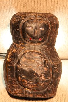 """Black kitsch. Matryoshka."" - Rustic wood sculpture. Contemporary art object."