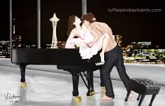 Christian Grey loves playing his grand piano, but actually played a duet of sorts in Fifty Shades Darker…I thought I would capture the moment when he teaches Ana a little about music appreciation. ;)