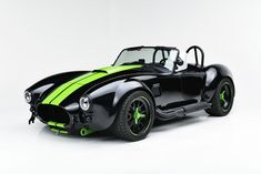 Finished in a high metallic shade of black known as Black Magic and sporting Ithaca Verde racing stripes, this 1965 Backdraft Cobra re-creation roadster is turnkey and ready to drive! Ford Mustang Shelby Cobra, Custom Muscle Cars, Custom Cars, Top Luxury Cars, Racing Stripes, Futuristic Cars, Sweet Cars, Amazing Cars, Fast Cars