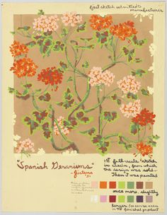 Design for sidewall, 'Spanish Geraniums' | USA, 1951 | Casein on paper | Sketch of wallpaper showing colorful geraniums in light pink and orange on a tan background. Margins filled with notations | Cooper-Hewitt