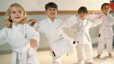 Young children in a karate class