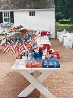 red white & blue on white picnic table - Carolyne Roehm