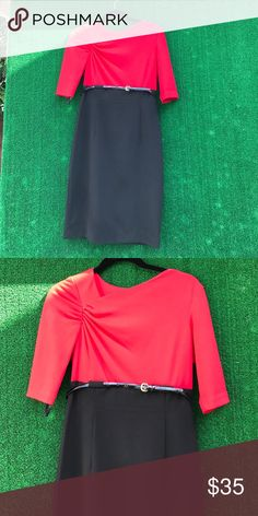 Calvin Klein Black and red dress Black and red dress with thin belt size 4. Good condition. Calvin Klein Dresses