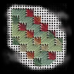 Falling Leaves - pretty with 2 different variegated threads Needlepoint Designs, Needlepoint Stitches, Needlework, Cross Stitch Embroidery, Embroidery Patterns, Stitch Patterns, Swedish Weaving, Hand Painted Canvas, Ribbon Work
