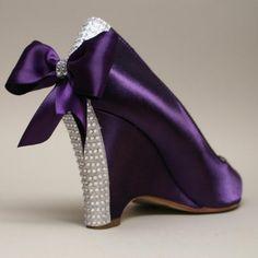 Purple Wedding Shoes/ Wedges with Rhinestone Bling