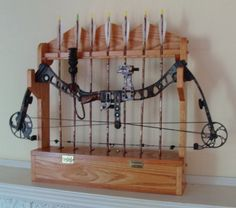 Hand made Solid Red Oak Bow Rack Ready to ship by TheNorthCottage, $175.00