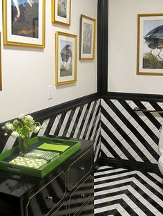 black and white chevron tile and floor in floor design design interior Black And White Interior, Decor, Striped Tile, Beautiful Tile, Beautiful Bathrooms, Floor Design, Home Decor, Wall And Floor Tiles, Black And White Tiles