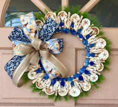 Your place to buy and sell all things handmade Seashell Wreath, Summer Wreath, Wreaths For Front Door, Beach Themes, Deco Mesh, Burlap Wreath, Sea Shells, Joy, Beach Wreaths