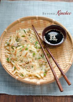 Savory radish pancakes made simple with just a few ingredients! Korean Appetizers, Asian Recipes, Ethnic Recipes, Low Sodium Soy Sauce, Pancakes Easy, Toasted Sesame Seeds, How To Squeeze Lemons, Korean Food, Vegetarian Recipes