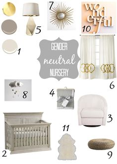 Grey, white and gold gender neutral nursery