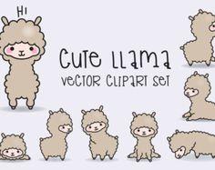 Premium Vector Clipart - Kawaii Llamas - Cute Llama Clipart Set - High Quality Vectors - Instant Download - Kawaii Clipart